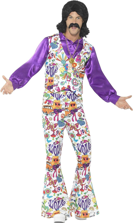 Adults 60s Groovy Hippie Fancy Dress Costume 70s Flower Power Peace Hippy Mens
