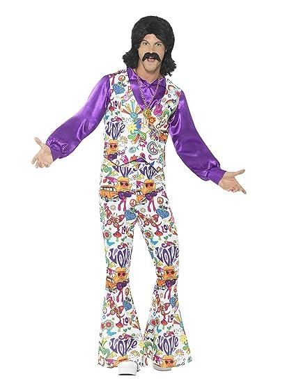 Smiffys 60s Groovy Hippie - Traje con chaleco, camisa y pantalones, Multicolor, XL