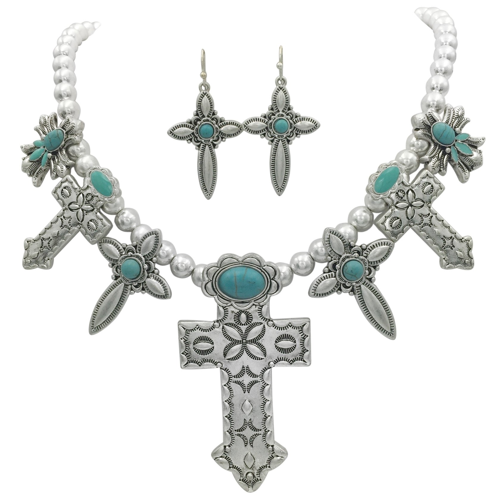 7 Cross Western Style Imitation Turquoise Necklace & Earrings Set (Silver Tone)