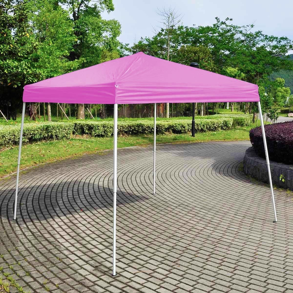 Costway2.5x2.5m Pop Up Folding Gazebo Heavy Duty Wedding Party Tent Marquee W/Bags Description (Pink)
