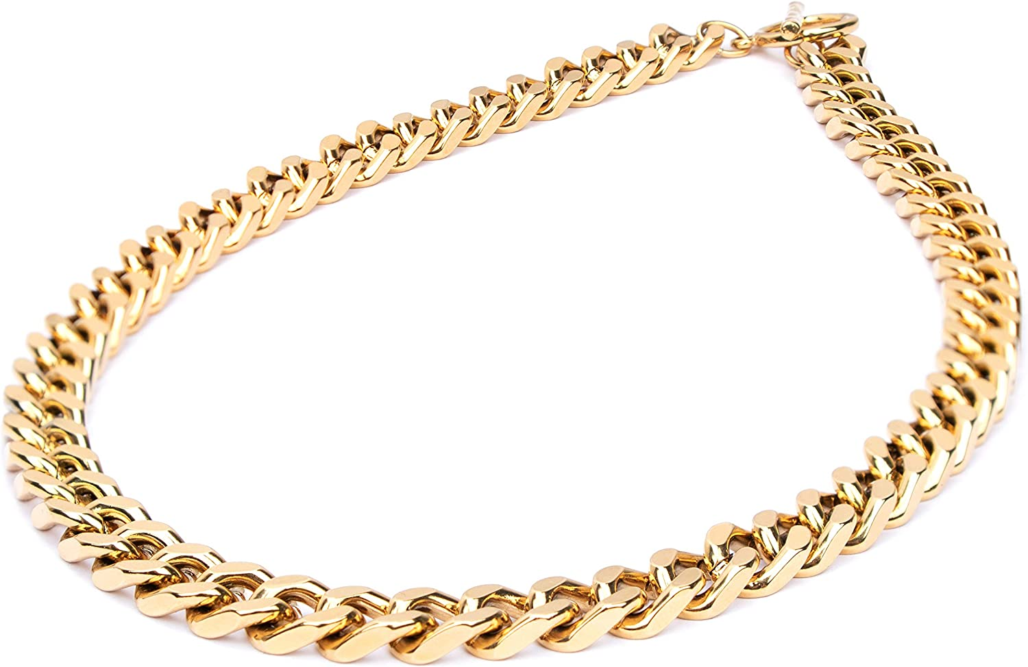 18K Gold Plated Dainty Paperclip Link Chunky Chain Necklace Stainless Steel Oval Rectangle Chain Link Choker for Women Girls