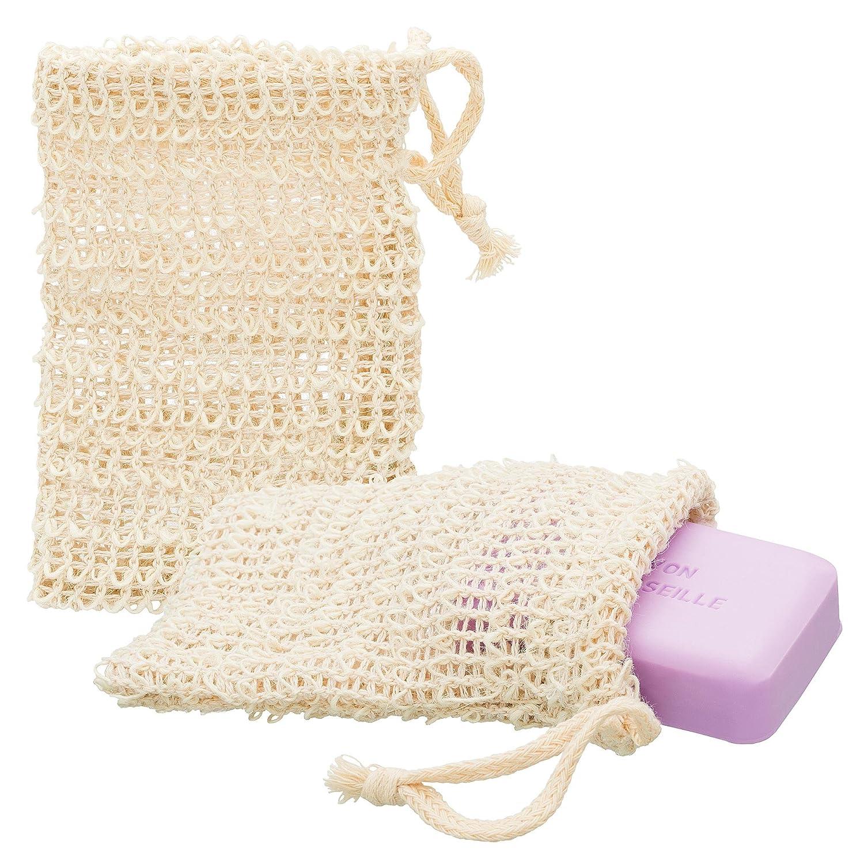 ECENCE 2x sisal soap bag natural soap net soap pouch soap purse soap sponge soap sachet 14cm x 9cm 23020202 4260545432148