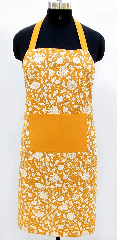 VLiving Amarillo Color delantal, diseño de flores, color mostaza ...