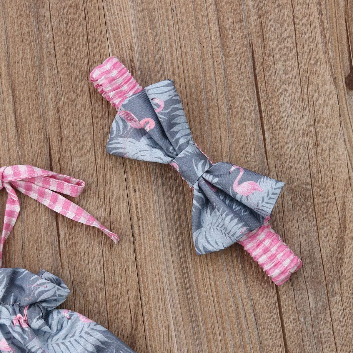 Pantaloncini a Quadri Rosa Carolilly Neonata Tuta Bambina Ragazza Estate Abito Vestito 3 Pezzi con Stampa Fenicotteri Rosa Canotta Crop Top Fascia con Flamingo e Bowknot