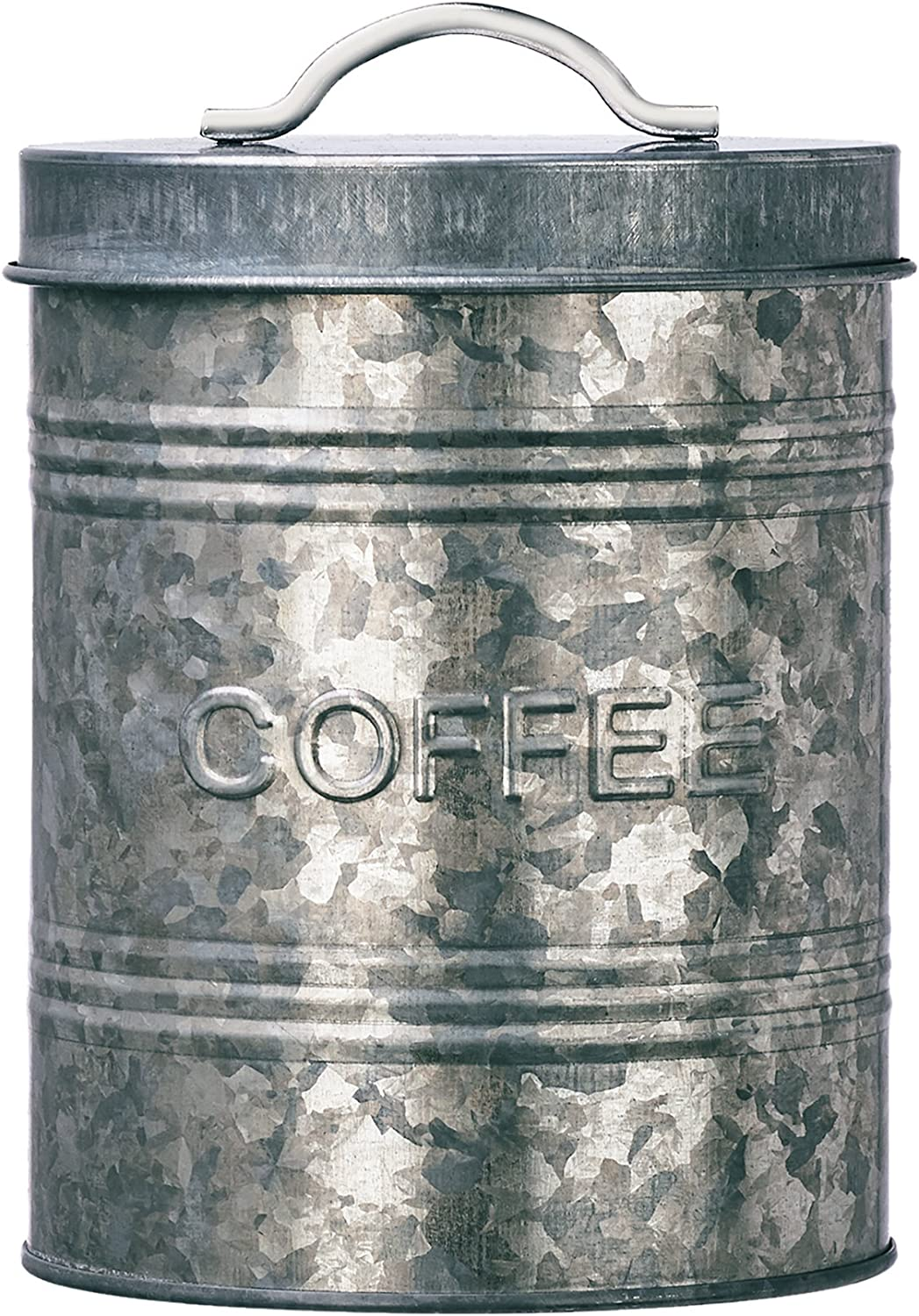 Amici Home A7CJ007R Rustic Kitchen Collection Coffee Relief Galvanized Metal Storage Canister, Food Safe, 76 Fluid Ounce Capacity