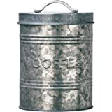 Amici Home, A7CJ007R Rustic Kitchen Collection Coffee Relief Galvanized Metal Storage Canister, Food Safe, 76 Ounces
