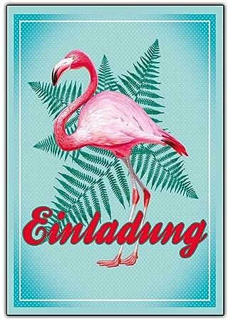 Flamingo Einladungskarten Zum Geburtstag Ausgefallene Einladung Für Kinder  U0026 Erwachsene Und Mädchen Und Junge Kindergeburtstag Hawaii