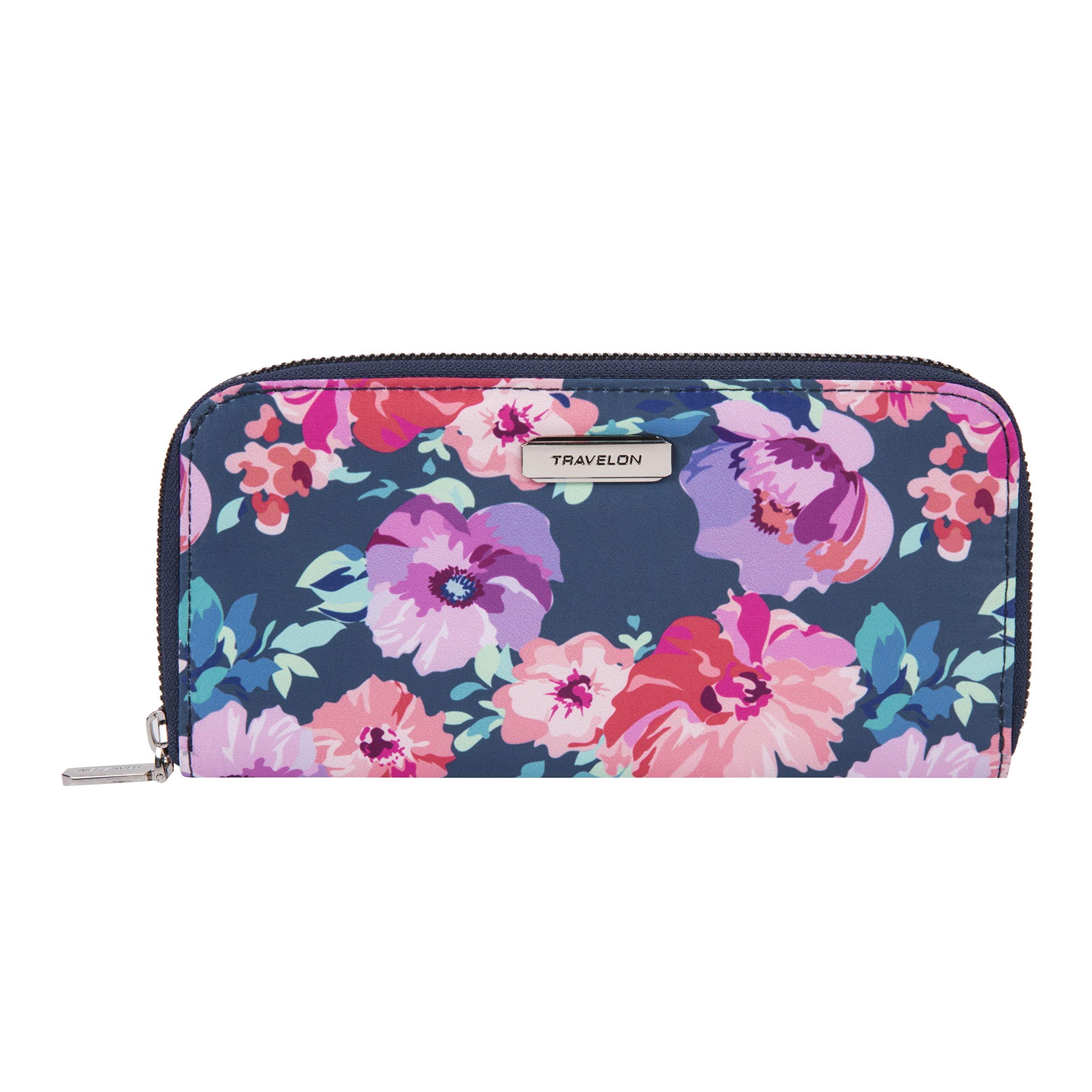 Travelon RFID Blocking Single Zip Wallet, blossom Floral by Travelon