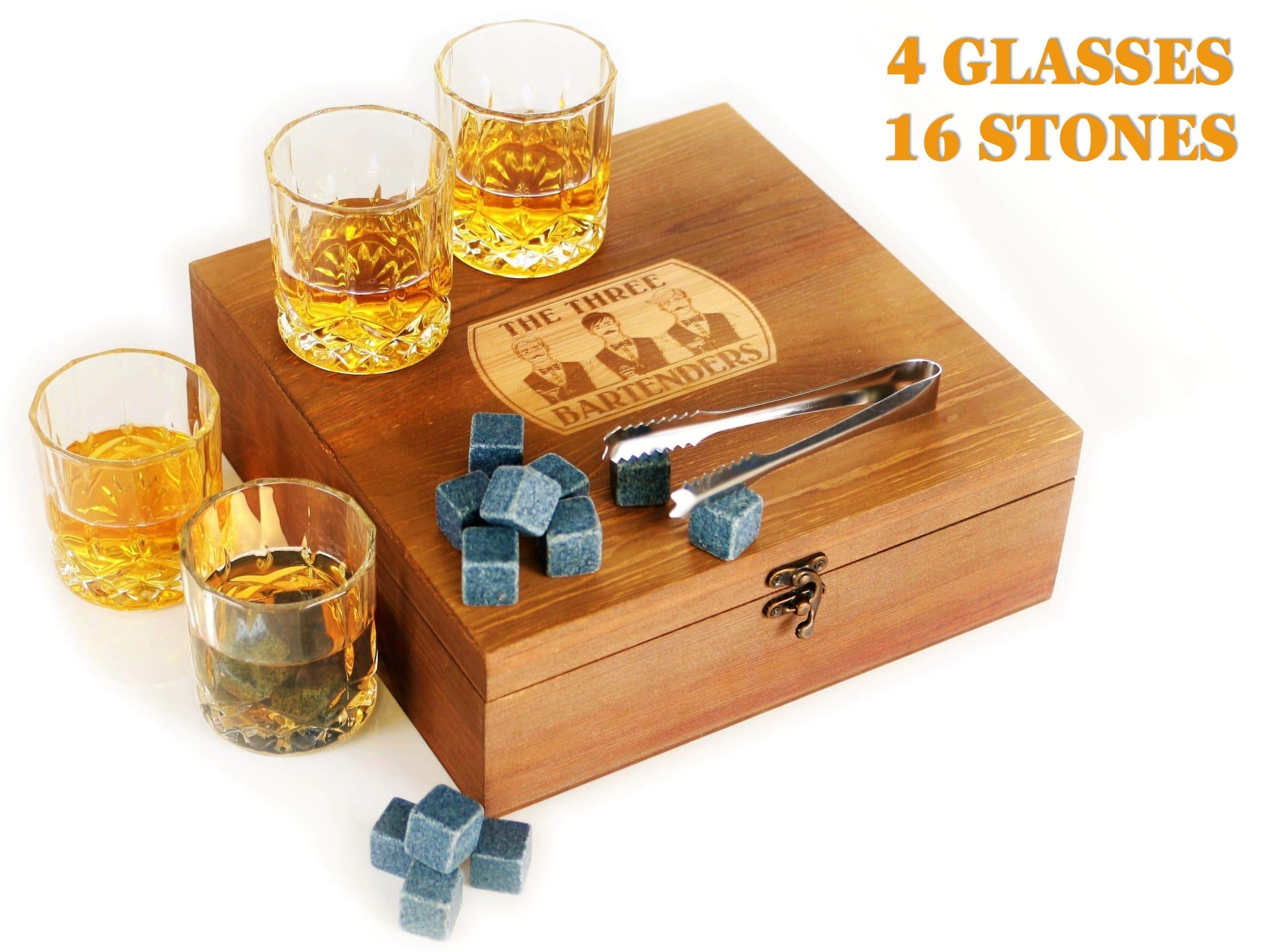 Whiskey Glasses and Stones Gift Set in Premium Wooden Presentation Box - 4 Extra Large Glasses, 16 Chilling Stones, Ideal Gift for Men, Fathers Day, Brother Gift (7.7) by The Three Bartenders (Image #1)
