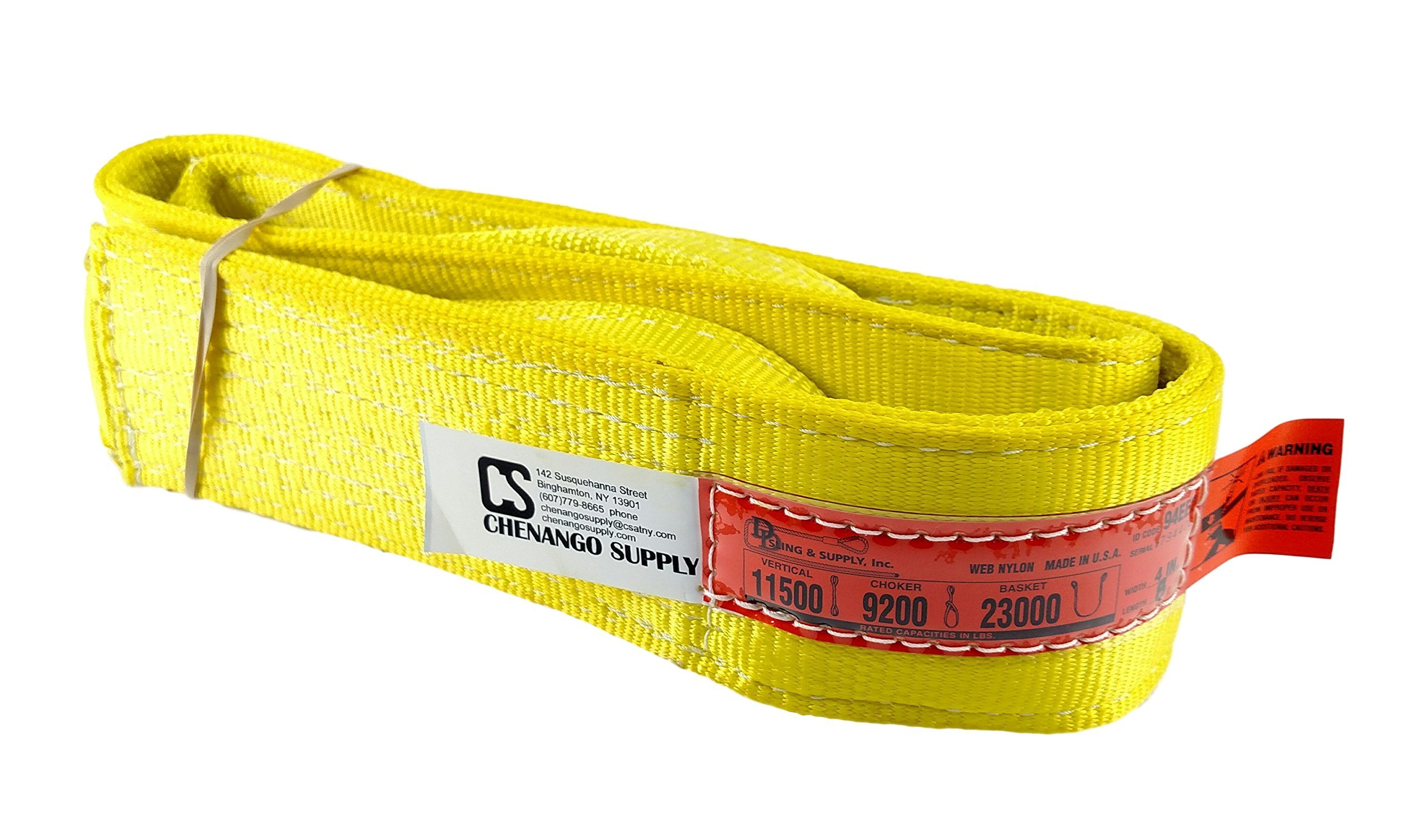 DD Sling (USA Made). Many Sizes in Listing! 4'' x 8', 2 Ply Twisted Eye, Nylon Lifting Slings, Eye & Eye, Heavy Duty (900 webbing), 11,500 lbs Vertical, 9,200 Choker, 23,000 Basket Capacity (4'' x 8')
