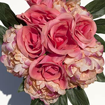 amazon com coral silk peonies and roses bouquet wedding party