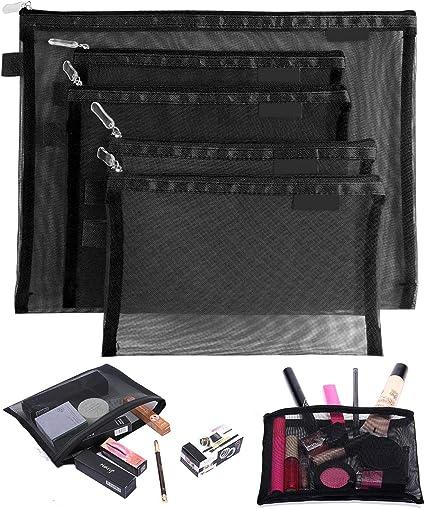 Tofinder Bolsas de cosméticos transparentes Bolsas de malla de maquillaje con cremallera Estuche para lápices Estuche de viaje Conjunto de estuches de almacenamiento (Negro): Amazon.es: Belleza
