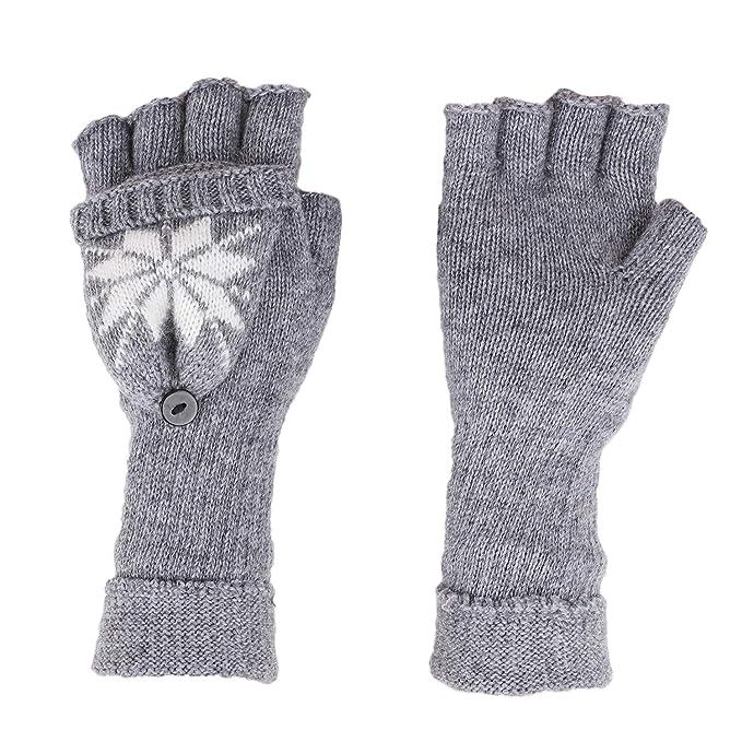 433b283e69a902 Damen Herren Winter Warme Fingerlose Strickhandschuhe mit Fäustlinge Klappe  Halbfingerhandschuhe Strick Handschuhe mit Flip Top,
