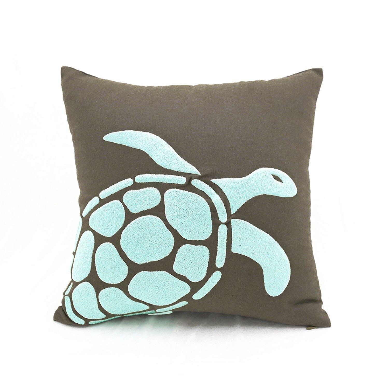 Turtle Throw装飾枕カバー、Cottage Nauticalビーチソファ枕トープブラウンコットンリネンターコイズTurtle刺繍クッションカバー 26 inch x 26 inch ブラウン COMINHKR081888 26 inch x 26 inch  B00NLQVK54