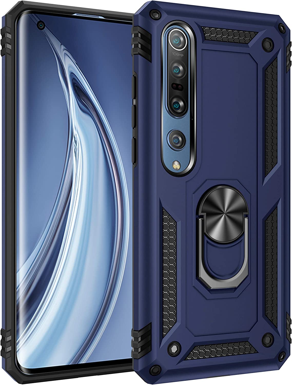 Dedux Funda Xiaomi Mi 10 5G/10 Pro 5G [Tough Armor Series] Robusta Anti-Arañazos Panel Trasero PC + TPU a Prueba de choques + Soporte Plegable. Azul Marino