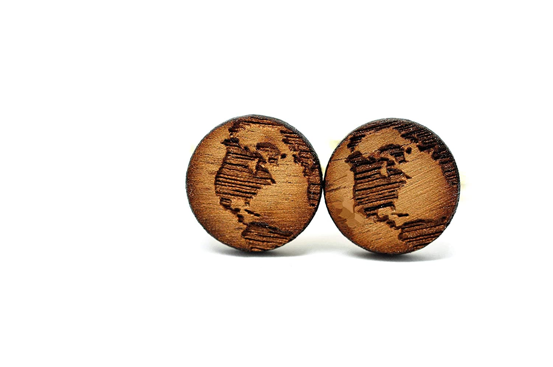 Handgemachte und individualisierbare Welt Manschettenknöpfe aus massivem Holz (Manschette, Manschettenknopf, Hochzeit, Trauung, Weltkarte, Globus, Landkarte, Landkarten, Weltkarten)