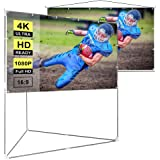 VIVOHOME 100 Inch 2-in-1 Portable Video Projector Screen with Triangle Stand, 16:9 Aspect Ratio Hanging Screen for Home Schoo