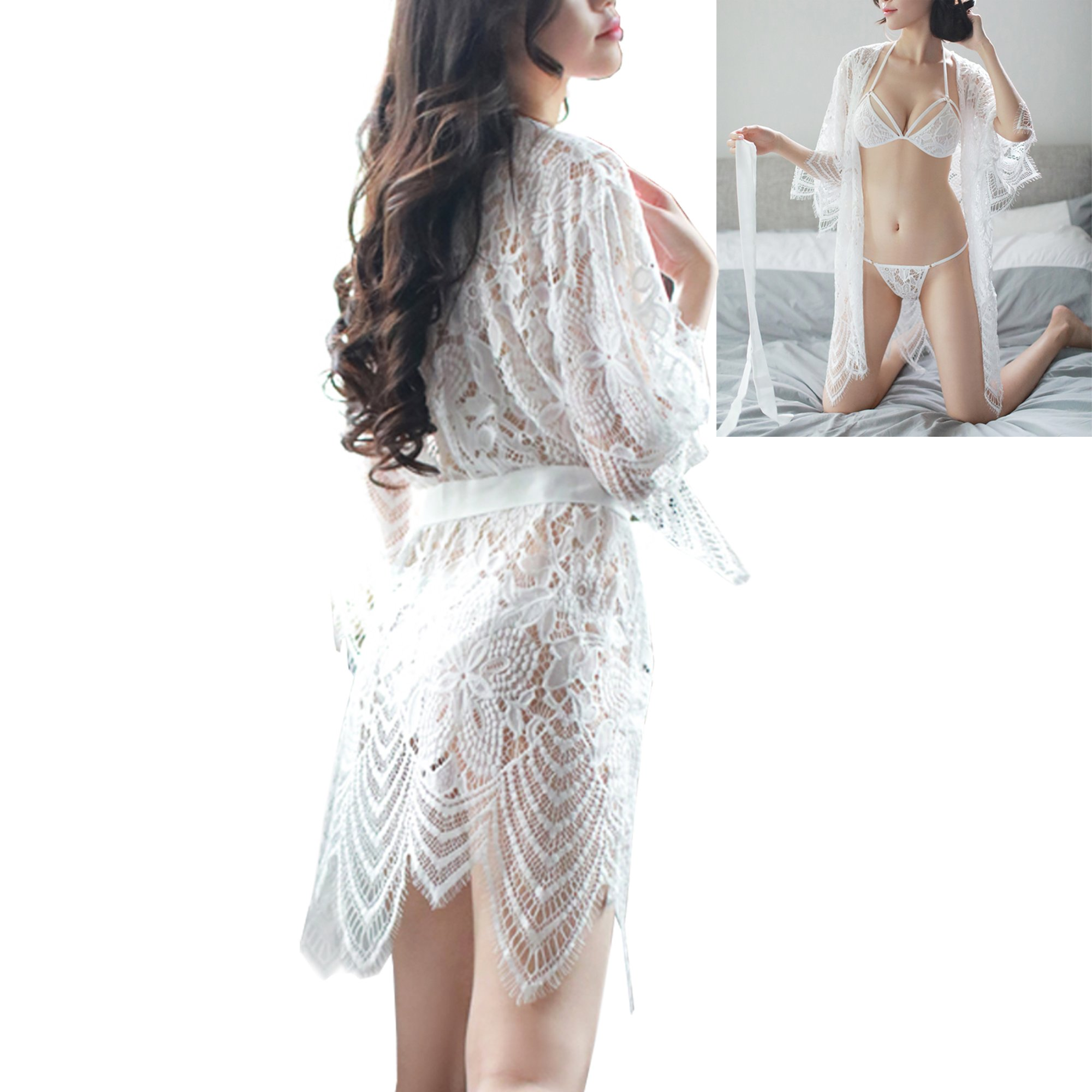 SS Queen Women Lace Sleepwear Lingerie Robe Kimono Nightgown 3 Pieces Pajamas (one Size, White)
