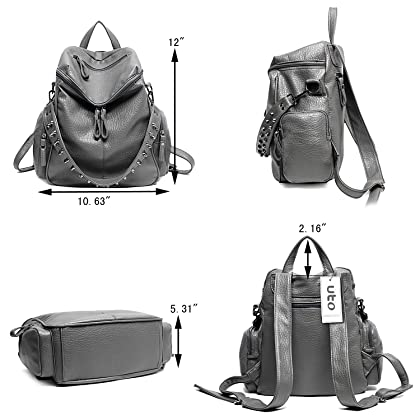 25a3ae5bbe2f ... UTO Women Backpack Purse 3 ways PU Washed Leather Rivet Studded Ladies  Rucksack Shoulder Bag B