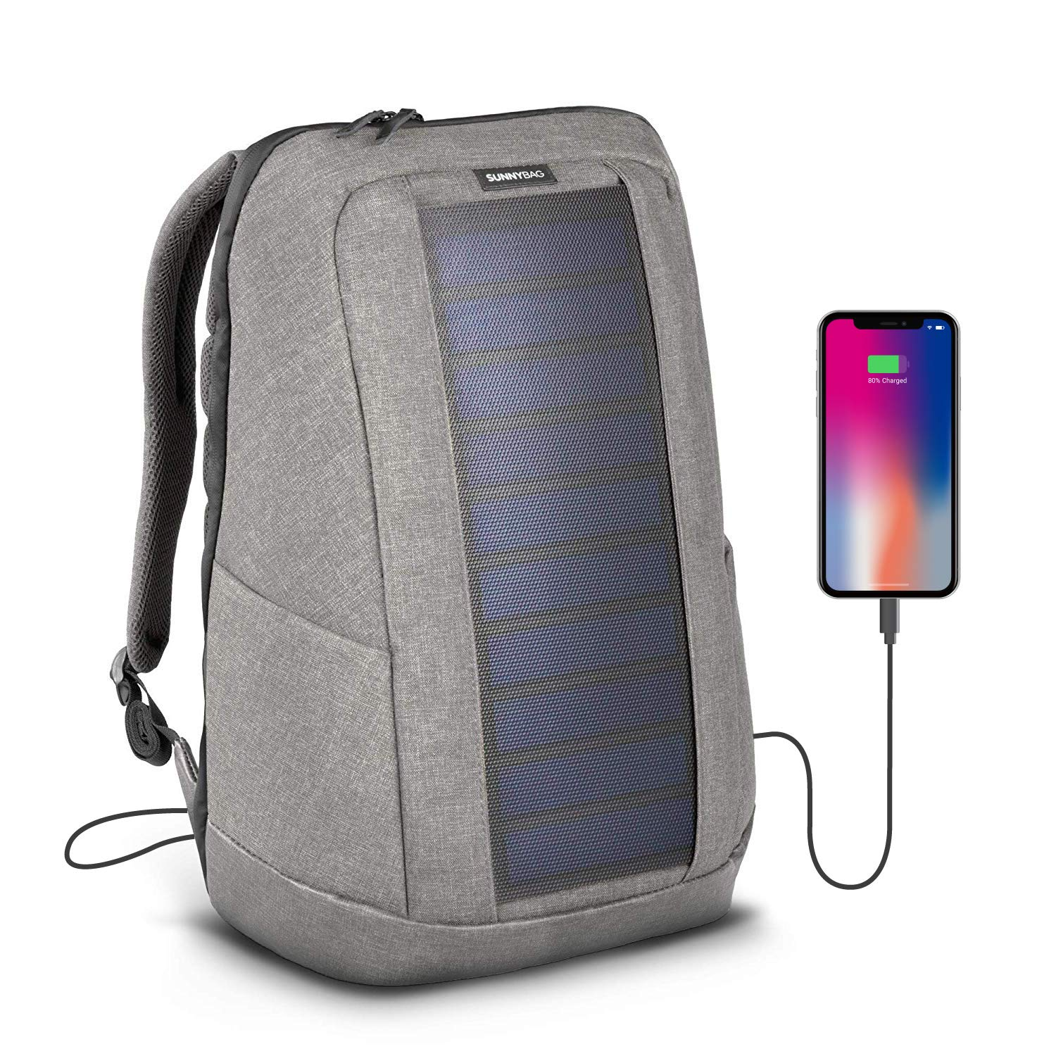 Sunnybag ICONIC solar backpack in cool gray | 7 Watt solar panel | Charge all Smartphones and portable USB devices | 20L volume by SUNNYBAG