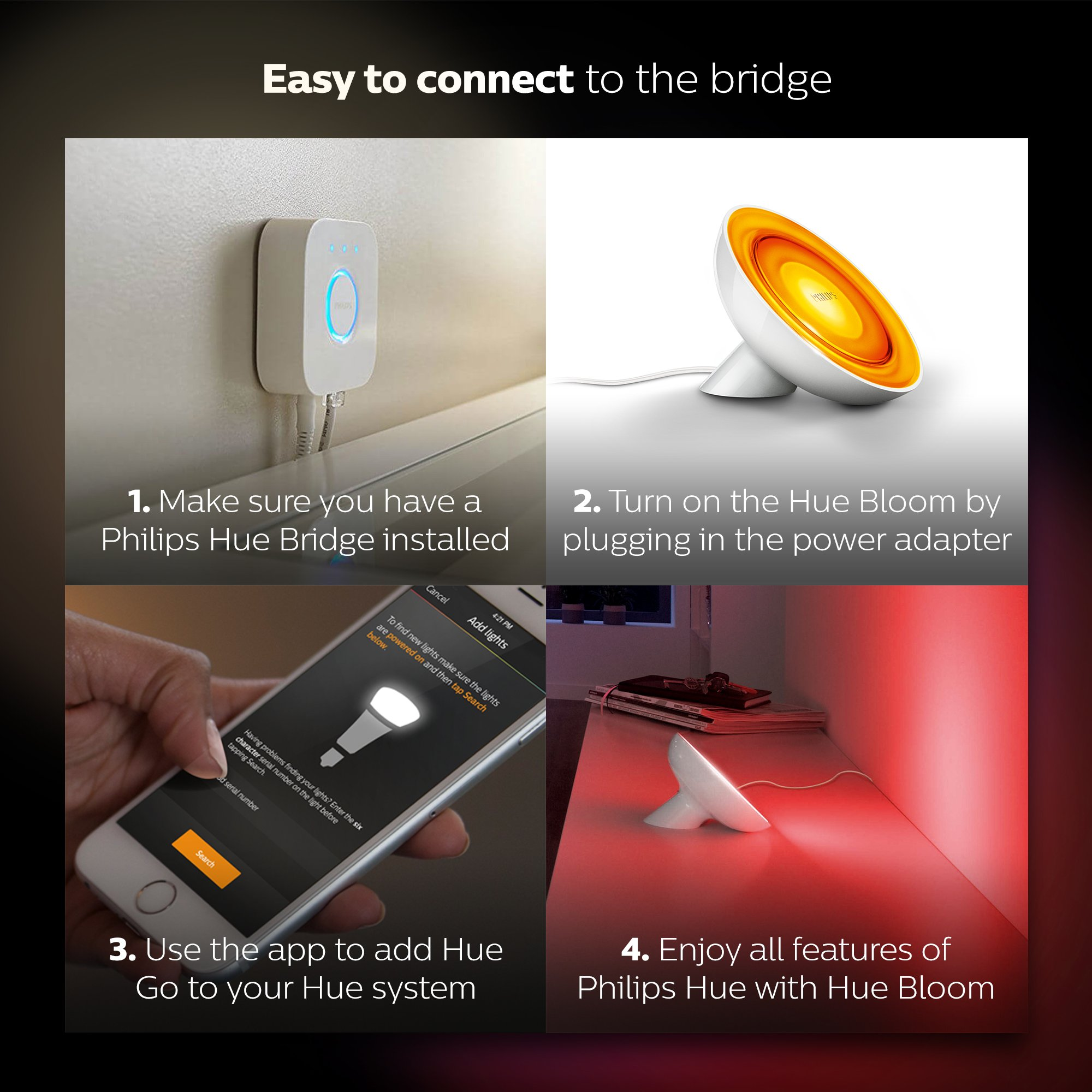 Philips Hue Bloom Dimmable LED Smart Table Lamp (Requires Hue Hub, Works with Amazon Alexa, Apple HomeKitand Google Assistant) by Philips Hue (Image #6)