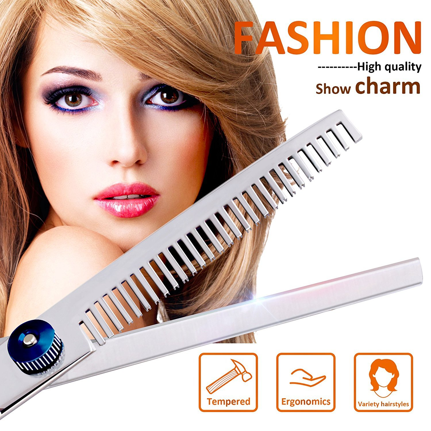 Hair Cutting Scissors Shears and Barber Thinning Salon Razor Edge Tools Set Mustache Scissors with Fine Adjustment Screw Japanese Stainless Steel Kit--by Drift(Sliver)