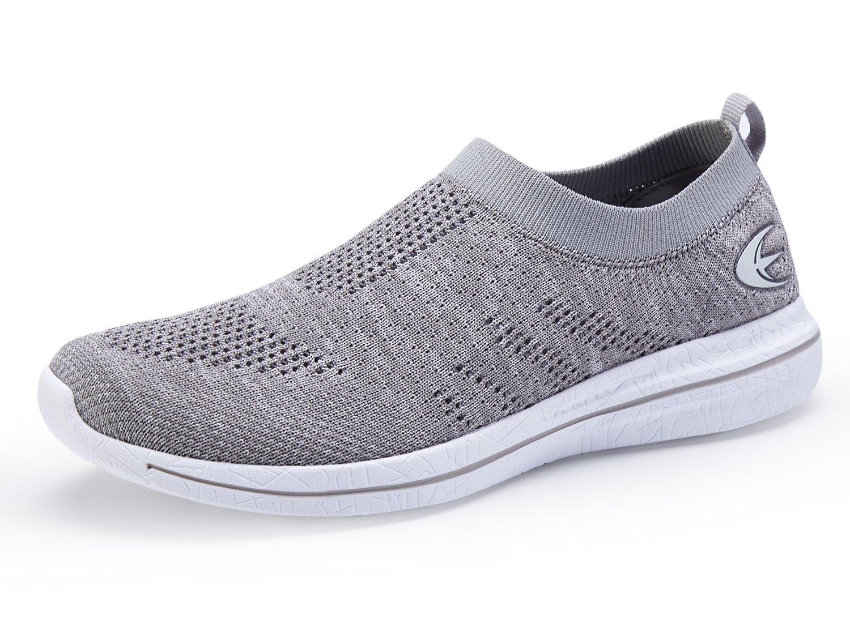 Women's Slip On Sneaker Mesh Loafer Casual Beach Street Sports Walking Shoes (8, Grey/White)