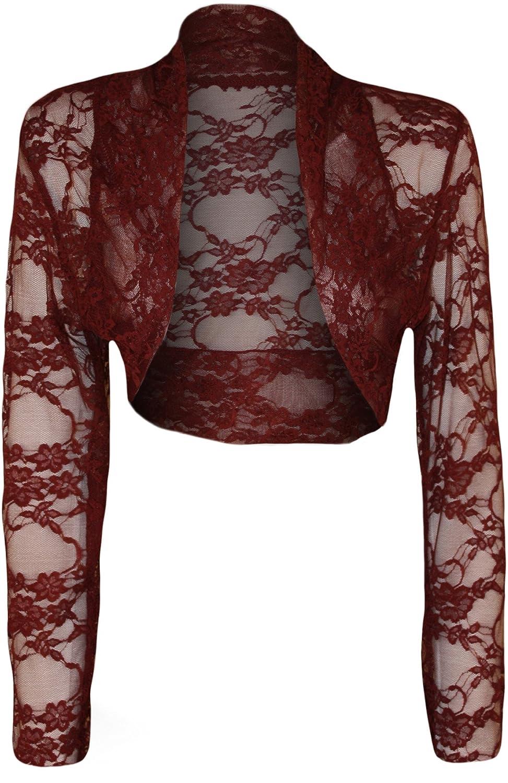 Womens Plus Size Lace Long Sleeve Ladies Shrug Bolero Cropped Cardigan Top  - 14-18: Amazon.co.uk: Clothing