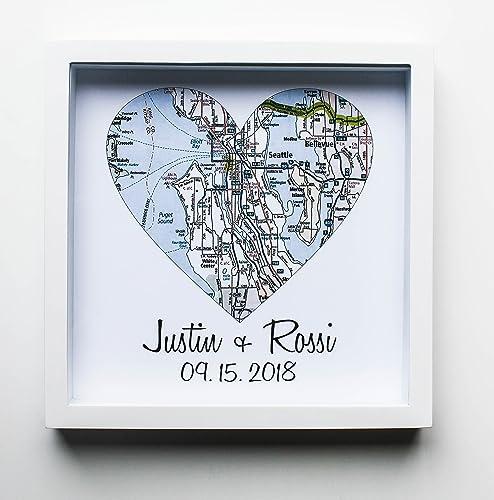 Wedding Gift Ideas.Amazon Com Heart Map Framed Art Map Heart Wedding Gifts For Couples