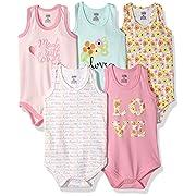 Luvable Friends Baby Sleeveless Bodysuits, Love 5Pk, 3-6 Months (6M)