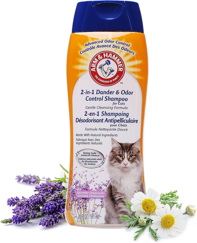 Arm & Hammer 2-in-1 Deodorizing & Dander Reducing Shampoo for CatsCat Dander Remover for Cat Dander and Cat OdorsBaking Soda Moisturizes and Deodorizes, Lavender Chamomile Scent 20 Fl Oz`
