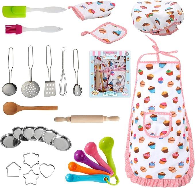 Chef Kit Kitchen Cooking Set Baking Gift Supplies Kids Home Utensils Apron NEW