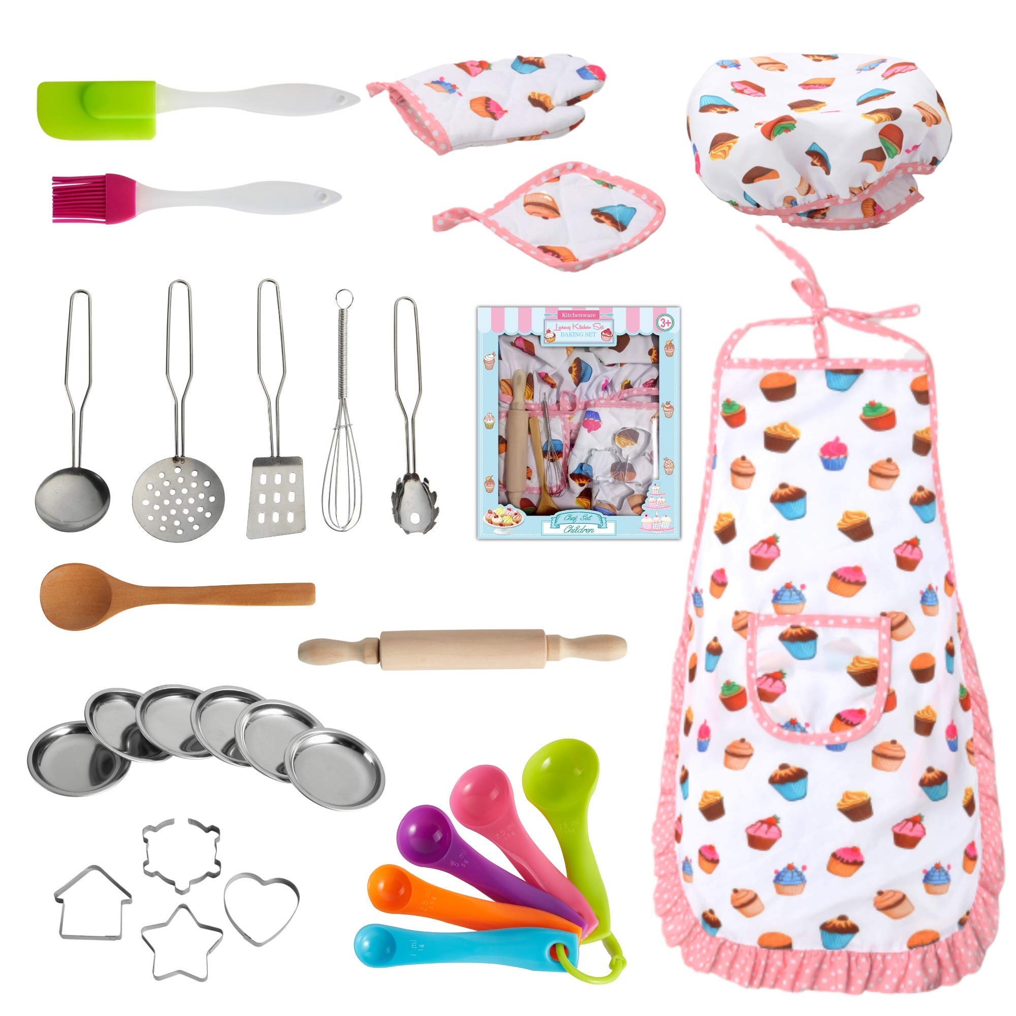 Nearbyme Kids Cooking and Baking Chef Set - 28 Pcs Includes Apron, Chef Hat, Oven Mitt, Pot Holders, Plates, Rolling Pin, Spoon, Cookie Cutters and Baking Utensil for Age 3+ Girls Gift by Nearbyme