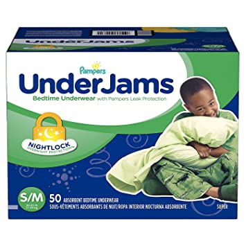 Pampers UnderJams Bedtime Overnight Protection Underwear For Boys S/M 50 Count, New!
