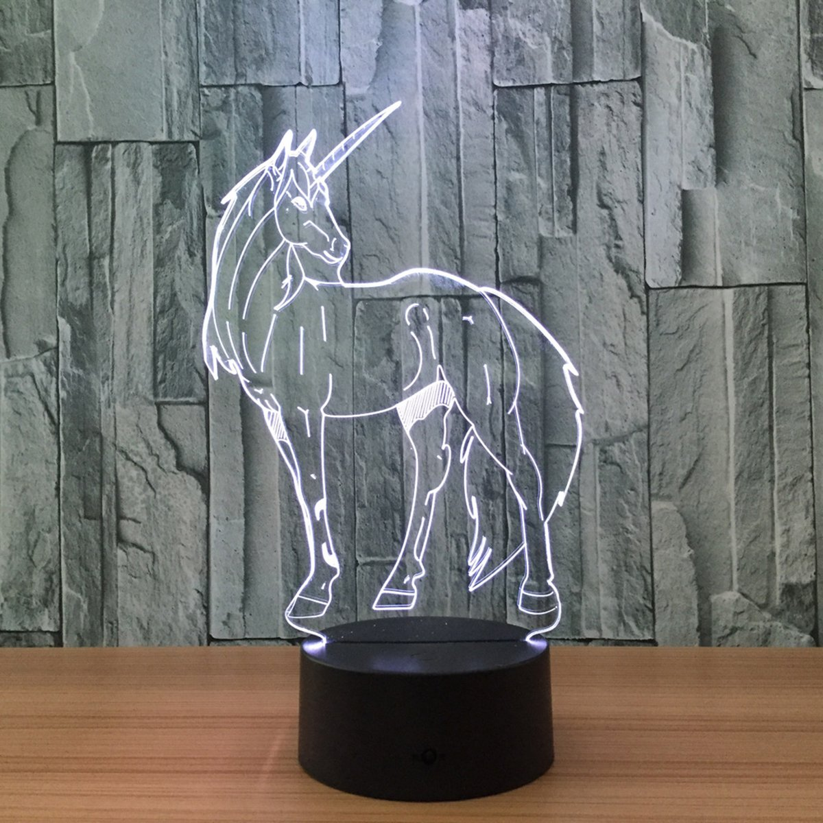 Novelty Unicorn 3D Illusion Lamp Led Night Light with 7 Colors Flashing & Touch Switch USB Powered Bedroom Desk Lamp for Kids Gifts Home Decoration by Atglus (Image #5)