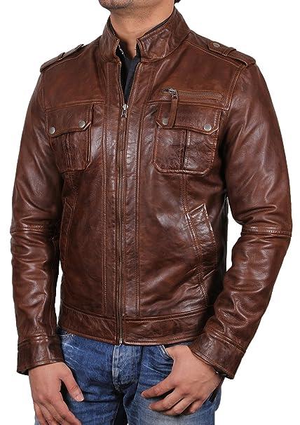 Brandslock Para hombre de motorista chaqueta de cuero ...