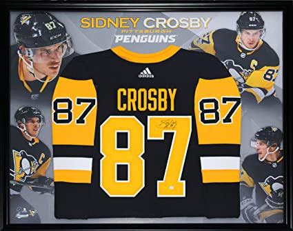 8fd9827ec92 Image Unavailable. Image not available for. Color: Sidney Crosby Signed  Jersey Framed Pro Black Adidas Penguins ...