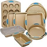 Perlli 10-Piece Nonstick Carbon Steel Bakeware Set with Baking Pans, Baking Sheets, Cookie Sheets, Muffin Pan, Bread Pan…