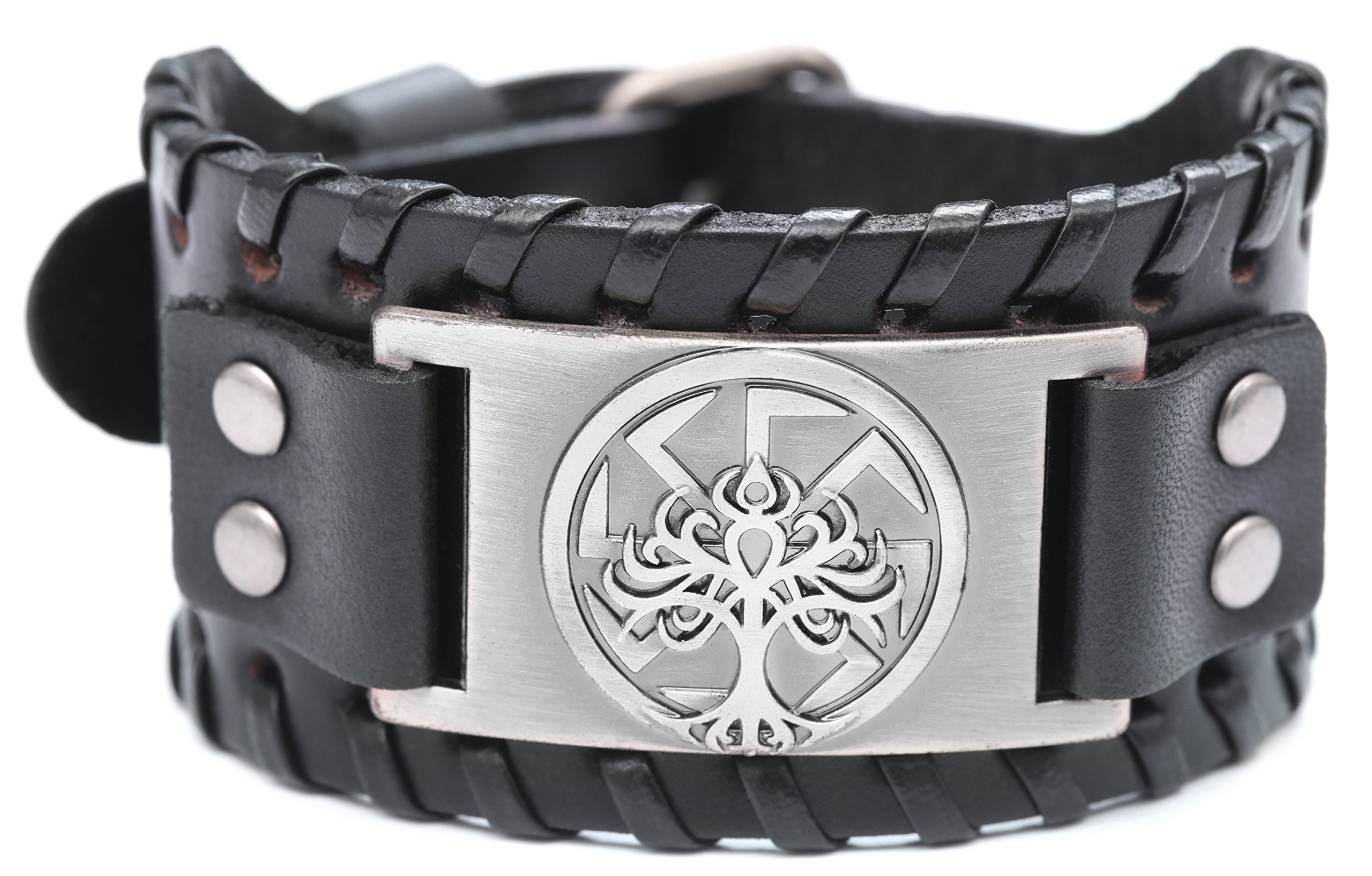 VASSAGO Vintage Norse Myth Tree of Life Yggdrasil Slavic Kolovrat Symbol Sun Wheel Amulet Cuff New-style Leather Bracelet (Black Leather, Antique Silver)
