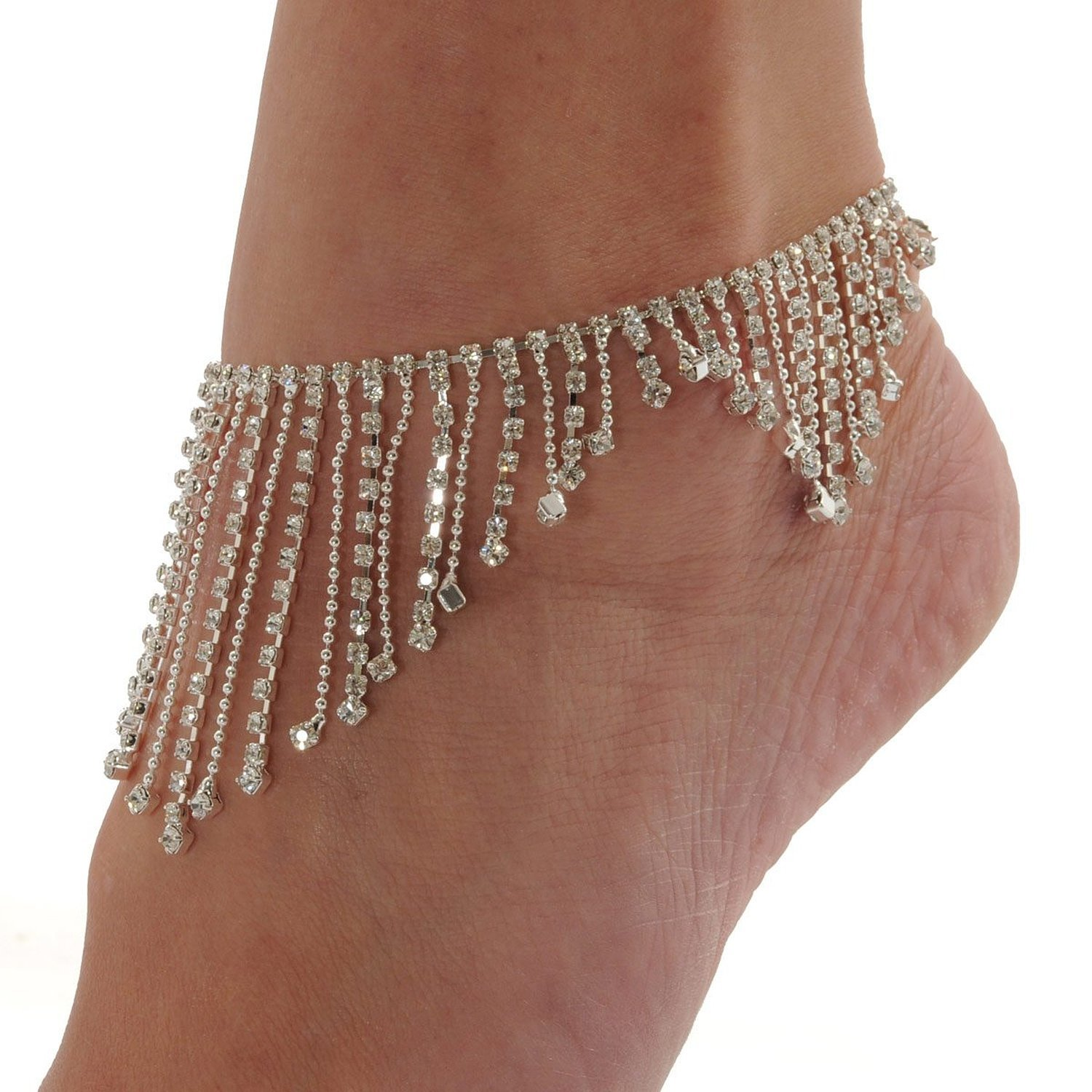 flop bling jewelry dangling bracelet anklet silver adjustable tennis ankle flip sterling