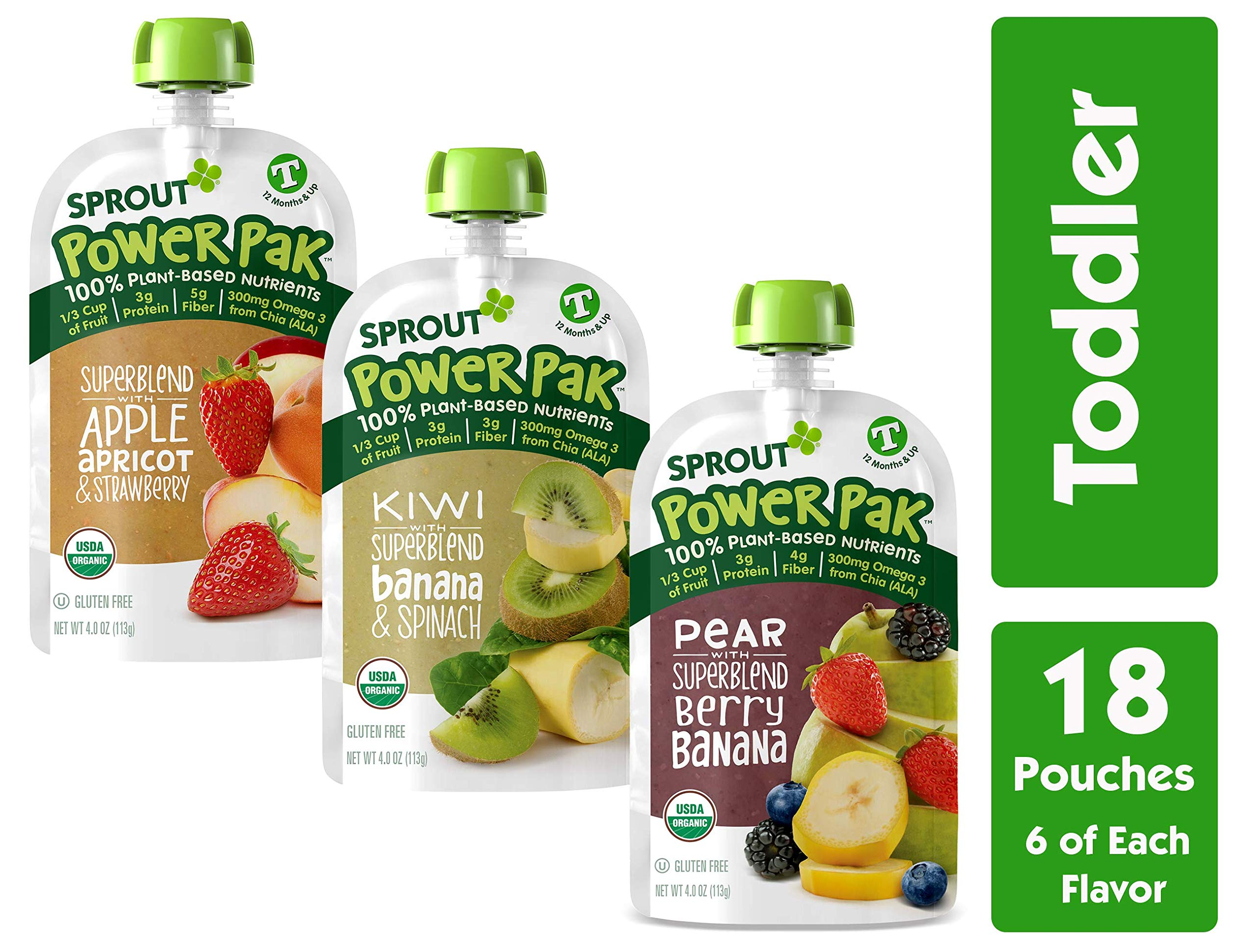 Sprout Organic Stage 4 Toddler Food Power Pak Pouches, Variety Pack, 4 Ounce (Pack of 18) 6 of Each Superblend: Apple Apricot Strawberry, Kiwi Banana Spinach & Pear Blackberry Banana by Sprout
