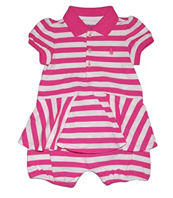 aca7092935 Amazon.com: Ralph Lauren Polo Baby Girls Striped Cotton Mesh Polo ...
