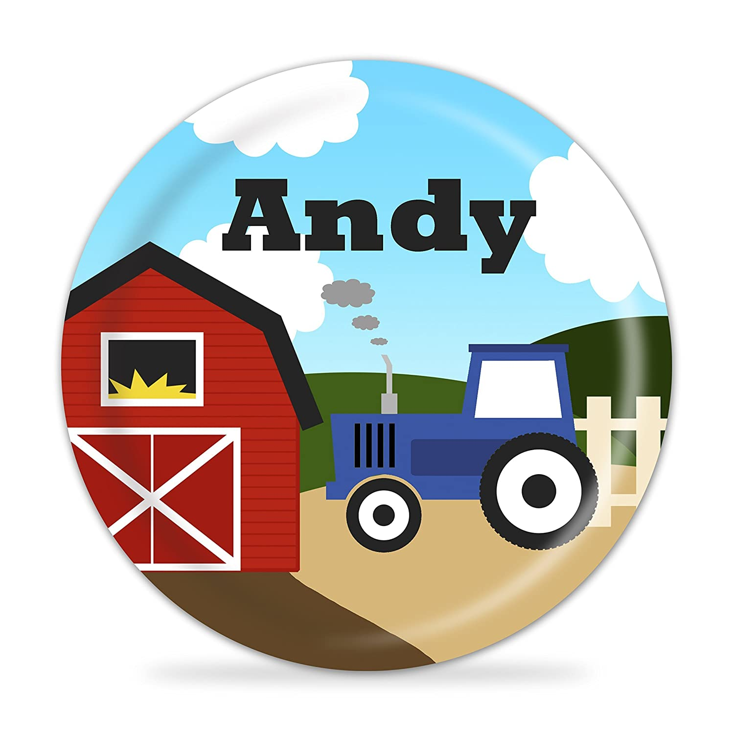 Red Barn Blue Tractor Melamine Personalized Name Gift Farm Plate