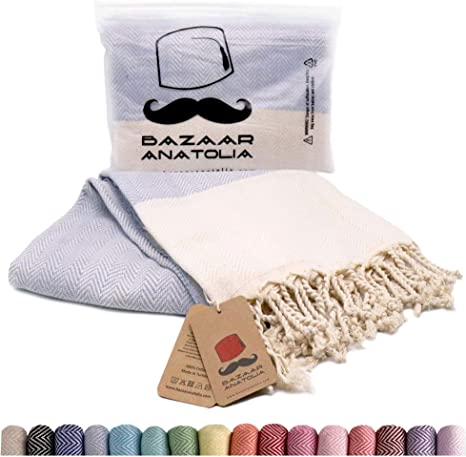 Bazaar Anatolia Herringbone Turkish Towel 100/% Cotton Peshtemal Bath Towel 77X38