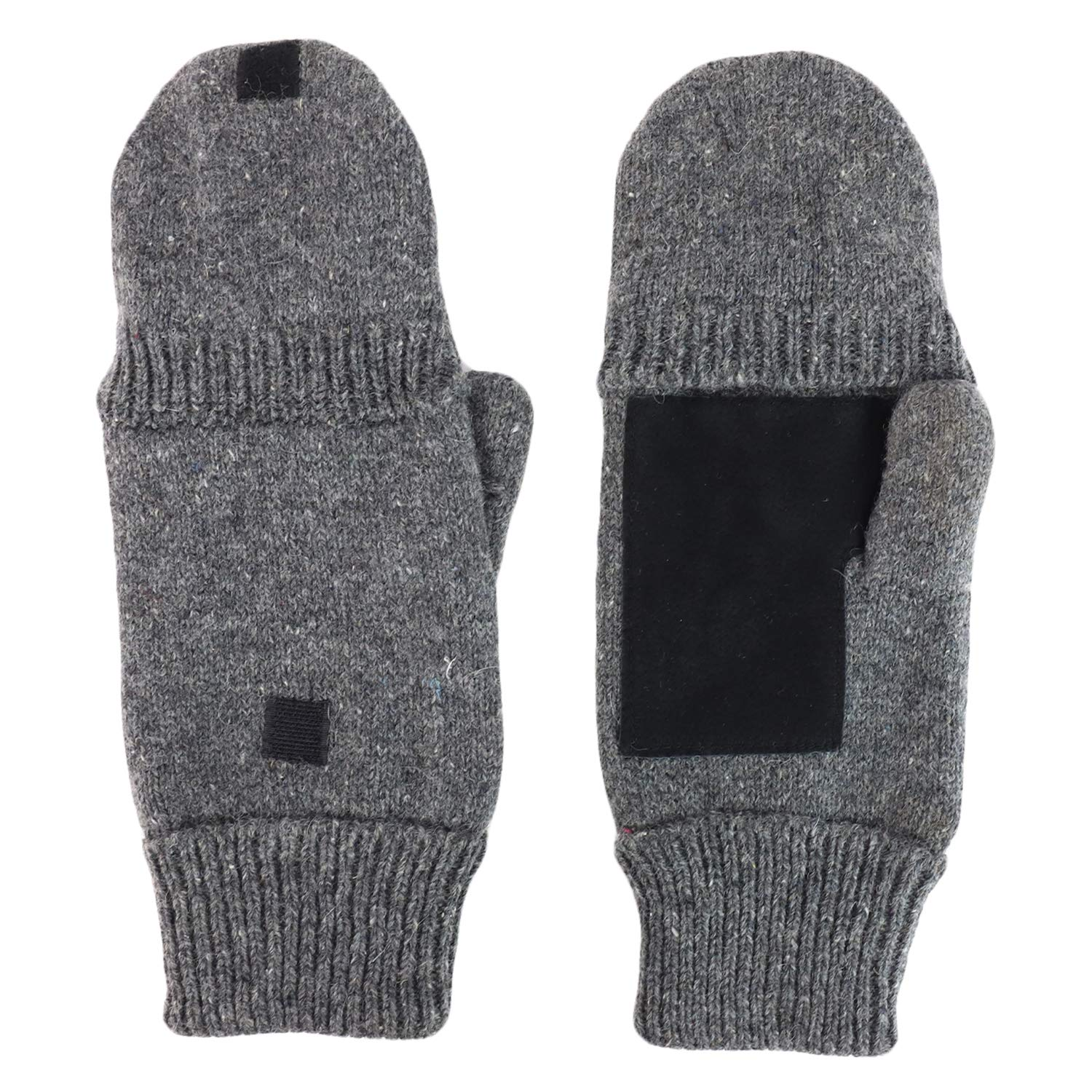 Armycrew Mens Ragg Wool Fingerless Flip Top Winter Gloves with Suede Palm