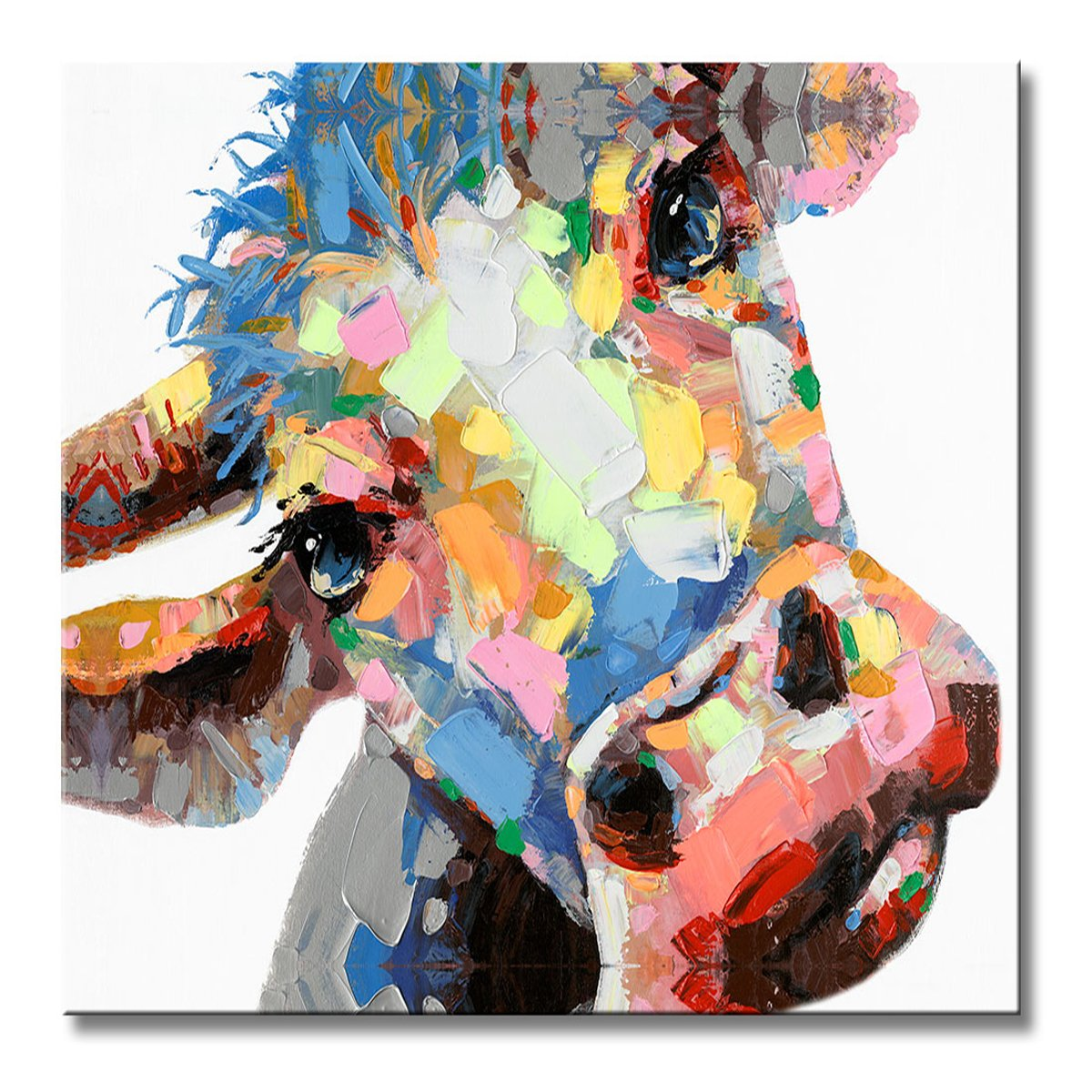 FLY SPRAY 1 Panel Framed 100% Hand Painted Oil Paintings Canvas Wall Art Colorful Cattle Cow Donkey's Head Modern Abstract Artwork Painting for Living Room Bedroom Office Home Decoration by FLY SPRAY
