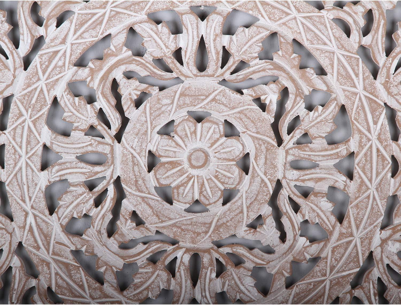 h/ängend /& stehend Orientalisches Holz Wandbild Mandala Najib /Ø 61 cm wei/ß braun rund handgeschnitzte Wand-Dekoration Shabby Chic aus MDF Fensterdeko /& Weihnachtsdeko Kunsthandwerk MD1070