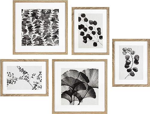 Kate and Laurel Black and White Farmhouse Florals Art Set