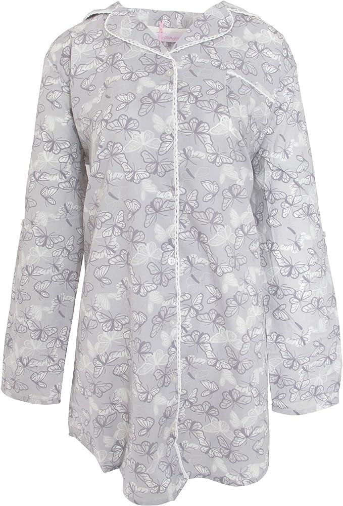Cottonique Ladies Woven Pure Cotton Long Sleeve Nightshirt