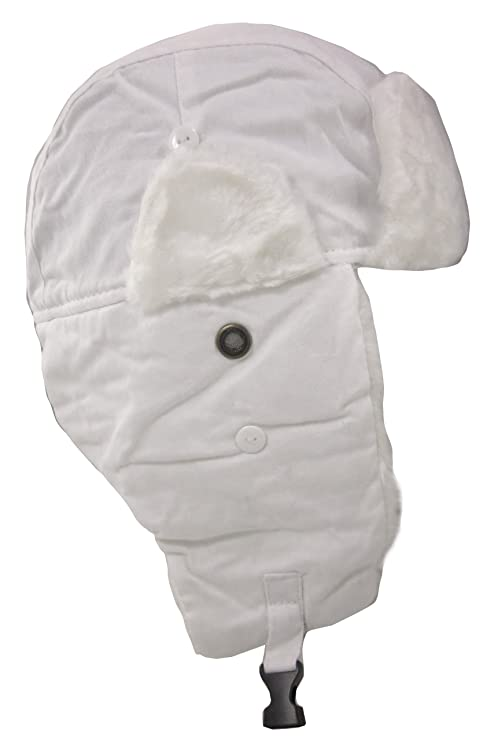 dda02527bd5cf Dakota Dan Winter Trooper Hat White Snow Camo with White Rabbit Faux Fur  Trim - One